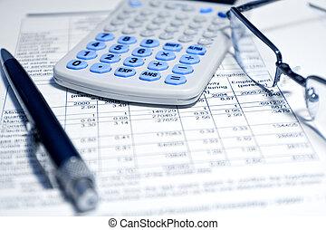 rapport, -, concept, financieel, zakelijk