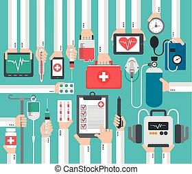 rapport, conception, monde médical, plat, concept