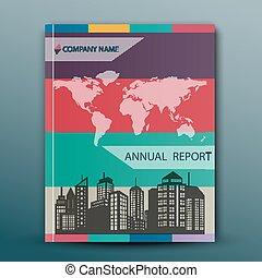 rapport, conception, résumé, annuel, couverture