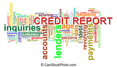 rapport, crédit, mot, étiquettes