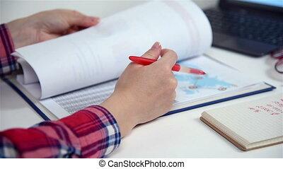 rapport, début, comptable, apuré, haut