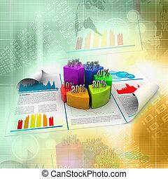 rapport, diagramme, business, tarte