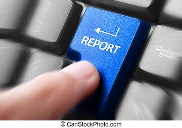 rapport, drukken, knoop, toetsenbord, hand