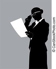 rapport, femme affaires, lecture