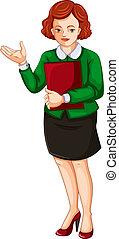 rapport, femme affaires, livre, tenue