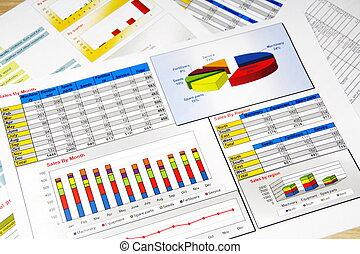 rapport, grafieken, statistiek, verkoopgrafieken