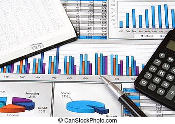 rapport, graphiques, diagrammes