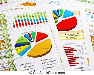 rapport, graphiques, ventes, diagrammes