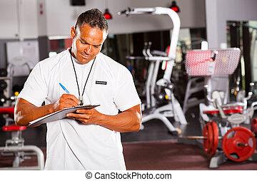 rapport, gymnastiksal, övervakare, skrift