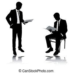 rapport, homme affaires, lecture