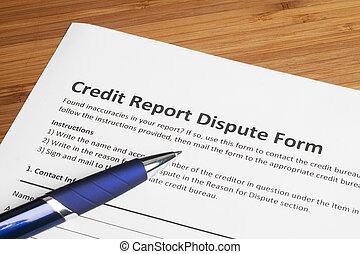 rapport, krediet, partituur, geschil