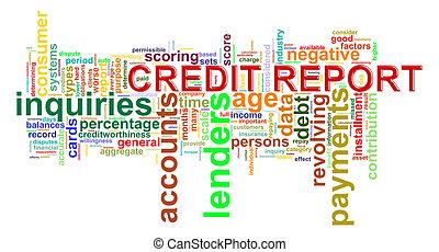 rapport, krediet, woord, markeringen