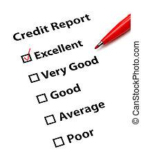 rapport, kreditera