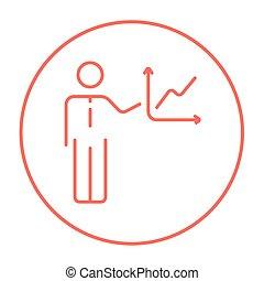 rapport, ligne, icon., business