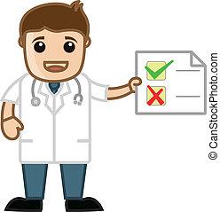 rapport, medicinsk, -, tecknad film, läkare