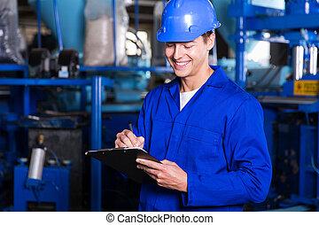 rapport, ouvrier, usine, écriture