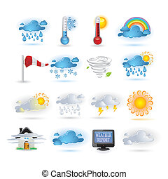 rapport, pictogram, weer, set