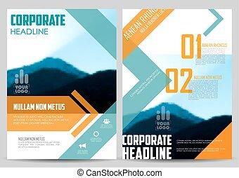 rapport, présentation, annuel, conception, gabarit