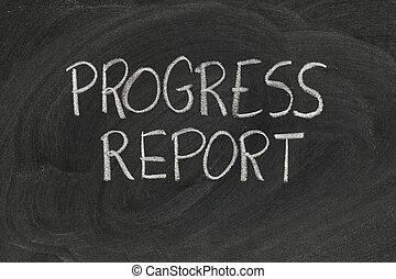 rapport, progrès