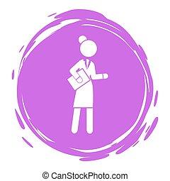 rapport, style, pourpre, documents, timbre, femme affaires, portrait, cirlce, femme, personne affaires