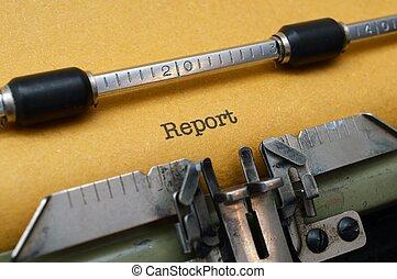 rapport, text, på, skrivmaskin