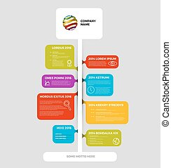 rapport, timeline, bulles, infographic, gabarit