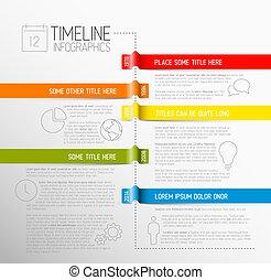 rapport, timeline, infographic, skabelon