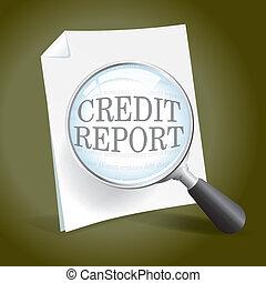 rapport, undersöka, kreditera