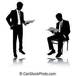 rapport, zakenman, lezende
