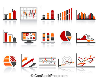 rapporti, finanziario, icona, colore gestione, semplice