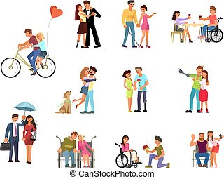 rapporti, invalido, romantico, persone