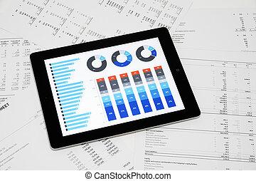 rapporto affari, su, tavoletta digitale