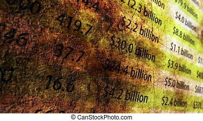 rapporto finanziario, grunge, concetto