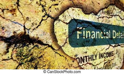 rapporto finanziario, su, grunge, fondo