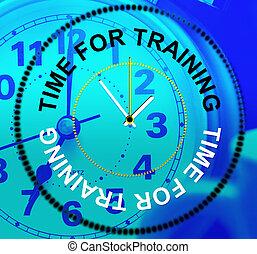 rappresenta, addestramento, imparare, istruzione, tempo, lezione