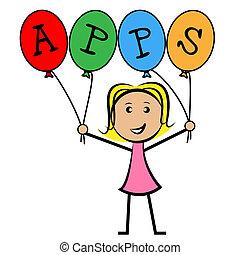 rappresenta, bambini, apps, domanda, palloni, software