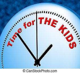 rappresenta, bambini, giusto, bambino, tempo, ora