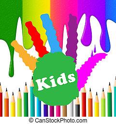 rappresenta, bambini, handprint, spettro, umano, colorito