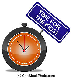 rappresenta, bambini, infanzia, presente, tempo