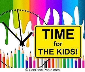 rappresenta, momento, bambini, infanzia, tempo