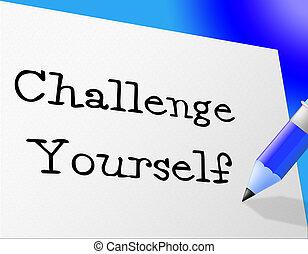 rappresenta, motivazione, sfida, te stesso, miglioramento,...