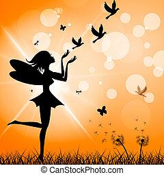rappresenta, ottenere, libertà, lontano, con escape, uccelli