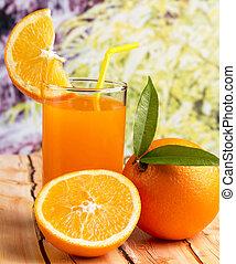 rappresenta, succo, sano, tropicale, cibo, frutta, arancia
