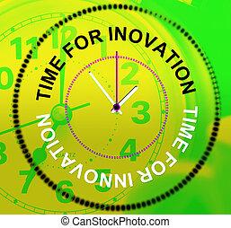 rappresenta, tempo, innovazione, concetti, invenzioni, pensieri