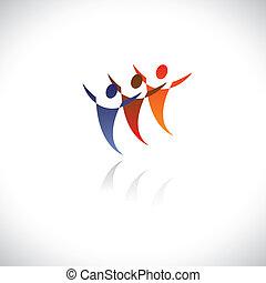 rappresenta, ufficio, ballo, symbols/signs, colorito, icone, essendo, gioco, ballerini, persone, illustrazione, sport, persone, o, grafico, insieme, insieme, free., amici, bambini, ecc