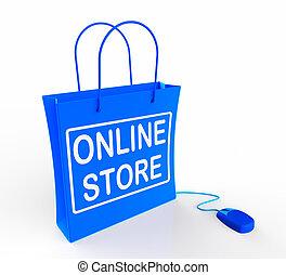 rappresenta, vendita, commercio, linea, borsa, internet, ...
