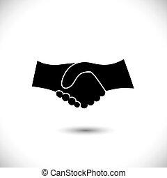 rappresentare, concetto, scuotere, associazione, &, -, gesti, anche, unità, nero, nuovo, amicizia, illustrazione affari, mano, white., icona, grafico, questo, augurio, fiducia, ecc, vettore, lattina