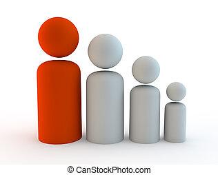 rappresentare, render, fanily, illustrazione, crescita, 3d, o, popolazione