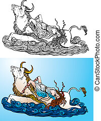 rapto, grego, europa, myth: