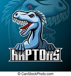 raptor, disegno, logotipo, mascotte, esport